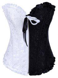 Ruffled Jacquard Lace-Up Corset -
