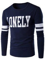 Lonely Print Varsity Stripe T-Shirt - CADETBLUE