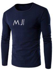 Round Neck MJ Printed T-Shirt - CADETBLUE