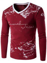 Long Sleeve Scrawl Printed V Neck Tee - WINE RED 5XL