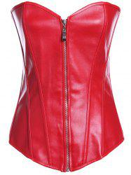 Zippered Faux Leather Lace-Up Corset - RED