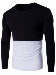 Long Sleeve Round Neck Color Block T-Shirt