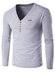 V-Neck Patch Design Henley Shirt - GRAY 4XL