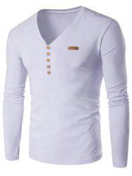 V-Neck Patch Design Henley Shirt -