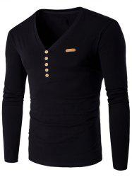 V-Neck Patch Design Henley Shirt - BLACK