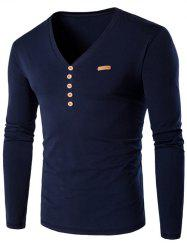 V-Neck Patch Design Henley Shirt - CADETBLUE