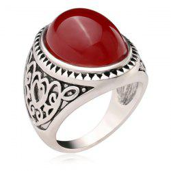 Faux Gem Oval Engraved Heart Ring -