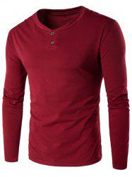 V-Neck Button Fly Long Sleeve T-Shirt - WINE RED