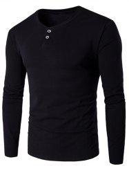 V-Neck Button Fly Long Sleeve T-Shirt - BLACK
