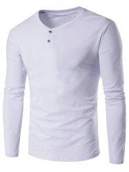 V-Neck Button Fly Long Sleeve T-Shirt - WHITE