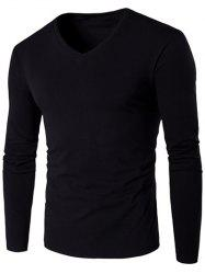 V Neck Long Sleeve Plain T Shirt - BLACK