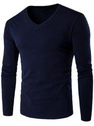 V Neck Long Sleeve Plain T Shirt - CADETBLUE
