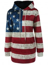 Hooded Flag Print Patriotic Dress - DEEP RED