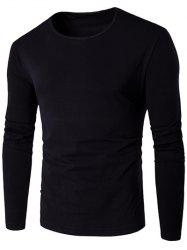 Slim-Fit Round Neck Long Sleeve T-Shirt - BLACK