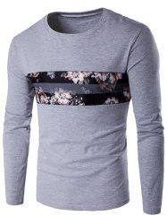 Round Neck Long Sleeve Floral Print T-Shirt - GRAY
