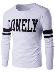 Lonely Print Varsity Stripe T-Shirt