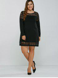 Plaid Mesh Patchwork Shift Dress - BLACK 5XL