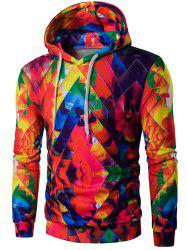 Drawstring Zigzag Graphic Hoodie - COLORFUL 2XL