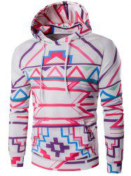 Geometric Print Pullover Hoodie - WHITE