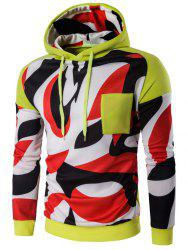 Abstract Print Color Block Pullover Hoodie - YELLOW 2XL