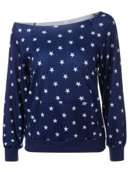Skew Collar Star Print Sweatshirt - DEEP BLUE