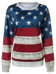 Contrast Star Print Striped Sweatshirt