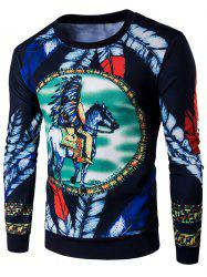 Round Neck Feather Print Sweatshirt - CADETBLUE