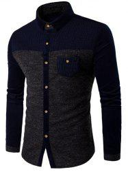 Corduroy Panel Two Tone Pocket Shirt -