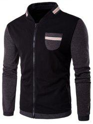 Stand Collar Patch Design Color Block Jacket - BLACK