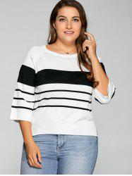 Plus Size Striped Knitwear - WHITE
