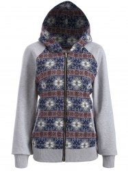 Zip Through Tribal Thin Cotton Zip Up Hoodie - COLORMIX 2XL