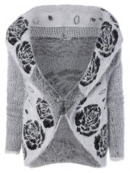 Fluffy Flower Jacquard Cardigan
