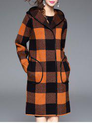 Checked Hooded Cashmere Coat -