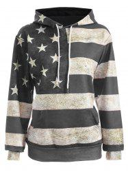 American Flag Print Pullover Hoodie - GRAY 2XL