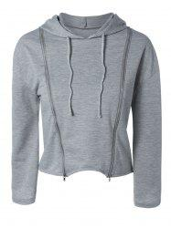 String Cropped Zippered Hoodie -