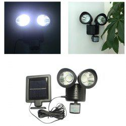 LED Solar Garden Lights Outdoor Decorative Waterproof Induction Double Wall Lamp - BLACK
