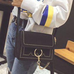 Chain Metal Ring Covered Closure Crossbody Bag