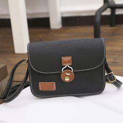 Square Shape PU Leather Stitching Crossbody Bag - BLACK