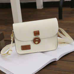 Square Shape PU Leather Stitching Crossbody Bag - OFF-WHITE