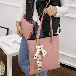 Textured Leather Stitching Scarves Shoulder Bag - PINK