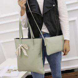 Textured Leather Stitching Scarves Shoulder Bag - LIGHT GREEN