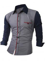 Color Splicing Shirt Collar Long Sleeve Shirt -