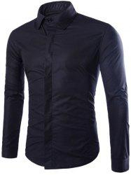 Shirt Collar Long Sleeve Fly Front Shirt -