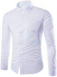 Single Breasted Shirt Collar Long Sleeve Shirt - WHITE