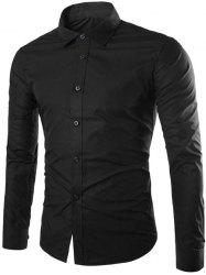 Single Breasted Shirt Collar Long Sleeve Shirt - BLACK