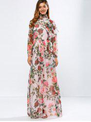 Vintage Chiffon Long Sleeve Floral Print Floor Length Maxi Prom Dress - PINK
