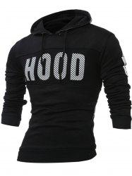 Hood Printed Long Sleeves Hoodie - BLACK