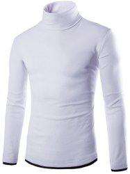 Faux Twinset Design High Neck Long Sleeve Knitwear - WHITE 2XL