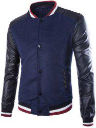 Stand Collar PU Leather Splicing Jacket
