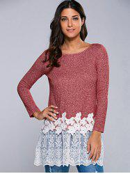 Heather Lace Hem Blouse - RED/WHITE M
